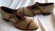 Vintage 1910s Brown Leather & Suede Shoes Heels Size 5