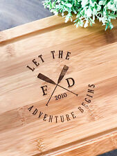"""""""Let the Adventure Begins"""" Personalised Chopping/Serving Board for Wedding Gift"""