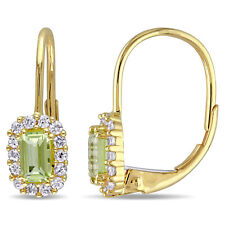Amour 10k Yellow Gold Peridot and White Sapphire Dangle Earrings
