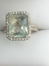 $4500 IPANEMA GREEN AMETHYST EMARALD CUT & DIAMOND 14K LIGHT GOLD COLOR RING 7