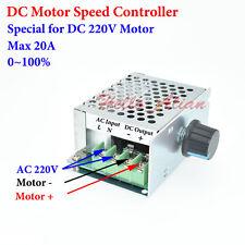DC 220V 20A PWM DC Motor Speed Controller Regulator Switch Potentiometer AC 220V