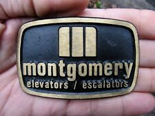 Vtg MONTGOMERY Belt Buckle KONE Elevator OTIS Escalator DYNA Brass RARE VG+