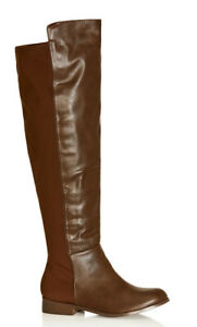 City Chic Knee High Boot Chocolate Brown Size 43, 13 Stretch Calf Wide Fit Flat