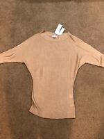NWT NEW YORK AND COMPANY Women's Beige Knit Top Sweater 3/4 Sleeve Small MSRP$45