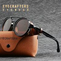 Women Sunglasses Retro Vintage Steampunk Side Shields Leather Round Retro Shades