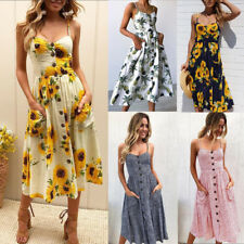 AU Summer Women's Strappy Buttons Beach Party Midi Dress Holiday Floral Sundress