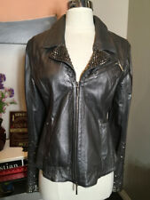 Jaded by Knight Size M Pewter Leather Moto Studs Jacket 2400-164-122619