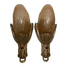 New listing Pair Amber Antique Art Deco Wall Sconce Slip Shade Li 00004000 ght Fixture Lincoln 10560