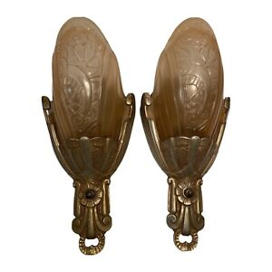 Pair Amber Antique Art Deco Wall Sconce Slip Shade Light Fixture Lincoln 10560