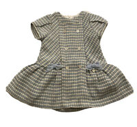Mayoral Baby Girl's Blue Tweed Bow Dress Size 18 Months Orig.$79