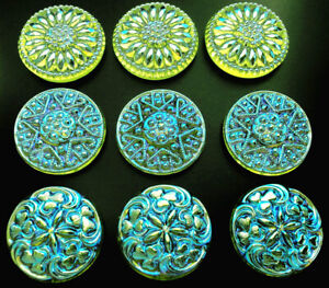 """9 UNIQUE VASELINE Crystal Glass No Shank Buttons -Cabochons #B549- 18 mm or 3/4"""""""