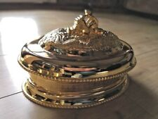 Restaurant Large Golden-plated chinese dragon serving plate stand with lid sizeM