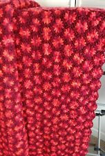 Red Heavy Pinwheel Foral Crocheted Afghan 78x90
