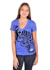 New Fox Racing Girls V-Neck Short Sleeve Cotton T-Shirt Tops, Purple