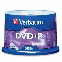50 Verbatim AZO DVD+R 16X Branded Logo 4.7GB Media Disc Spindle 95037