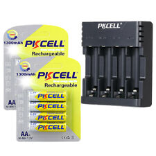 1300mAh Ni-MH AA Rechargeable Batteries (8 Pack) & AA AAA Battery Charger(Black)