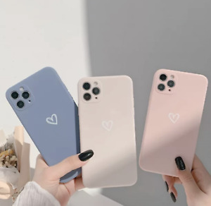 Heart Girly Phone Case For iPhone 7/8 X/XS  11 12 PRO Max, Mini Shockproof Soft