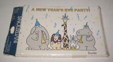 Vintage Sealed 1980s Boynton New Year's Eve Party Invitations w/Hippo,Rabbit+