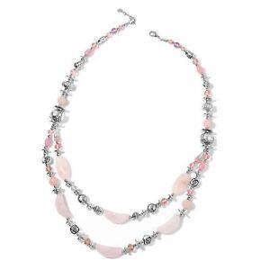 "Rose Quartz, Sim. Pink Sapphire, Chroma Silvertone Drape Necklace (33"") #JN1046"