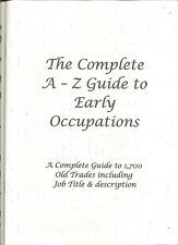 A-Z Guide to Early Occupations A4 booklet Genealogical
