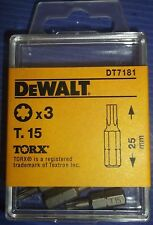 Dewalt Screwdriver Bits T15 Torx / Star Key T.15 Bit X 3