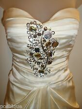 bebe XS Dress Ivory Rhinestone Jeweled Sequin Corset Ruch Cocktail Bridal Party