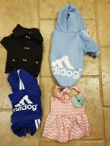 Lot Of 4 Small Dog Outfits Yorkie Coat Dress Sweatsuits
