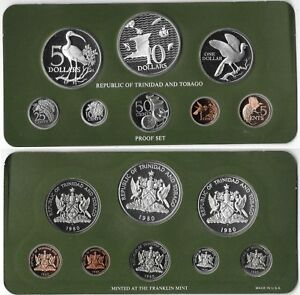 TRINIDAD & TOBAGO Proof Set 1980 Franklin Mint With Silver $5 and $10 Dollars B7