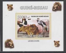 Guinea-Bissau 5764 - 2008 FAUNA - LION & CROWNED CRANE  imperf deluxe sheet u/m