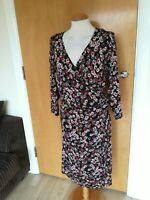 Ladies M&S Dress Size 24 Black Red Stretch Faux Wrap Smart Casual Day