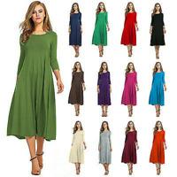 Womens Causal 3/4 Sleeve Midi Dress Ladies Round Neck Solid Pleated Dress Sz