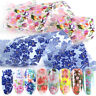 10PCS Nail Art Stickers Holographic Nail Foil Transfer Decals Flowers Tips DIY