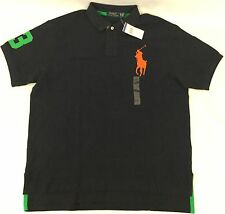 Ralph Lauren Men Custom Fit Polo Shirt Number 3 Patch Aviator Navy Blue Size S
