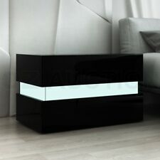 Bedside Table 2-Drawer Side Nightstand High Gloss Bedroom Cabinet BK w/RGB LED