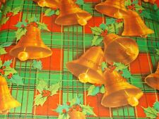 New ListingVtg Christmas Wrapping Paper Gift Wrap 1960 Red Green Plaid Gold Bells Nos