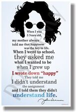 """I Wrote Down """"Happy"""" 2 - John Lennon - NEW Famous Musician Quote Poster"""