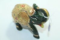 Natural Green Jade gemstone Elephant Figure gold hand painted Decorative Gift
