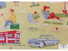 RPG183C Retro Atomic Trailer Camping Camper BBQ  Casita Cotton Quilt Fabric