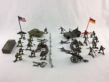 "2"" Plastic Army Men Guys Toy Soldier Playset Tank Jeep Artillery Fences 38 Piece"