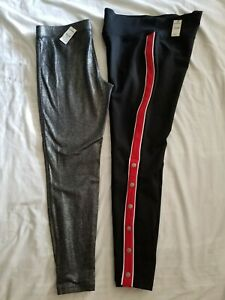 Lot of 2 Womens Express Leggings Black/Red Snap Leg &  Silver Size Large NWT