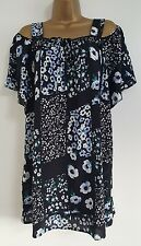 NEW DP Size 12-22 Floral Print Bardot Off Shoulder Navy Blue White Top Blouse