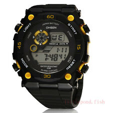 OHSEN XL Military Diving Digital Diving Black Quartz Sport Mens Wrist Watch Gold