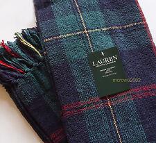 Ralph Lauren TARTAN PLAID Chenille PLUSH THROW BLANKET 54x72 GREEN Navy BLUE RED