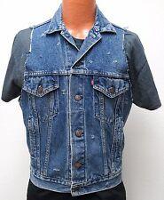 Levi's BLUE JEAN VEST SMALL denim 80s shredded 70507 redtab biker trucker 1988 S