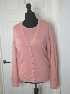 Peter Hahn Designer Knitwear Set Top Cardigan Pink UK 12 Pure Tasmanian Wool
