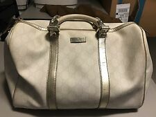 Gucci Joy Boston Silver Metallic GG Handbag 100% Authentic