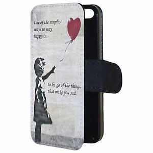 Banksy Inspired Girl Release Red Balloon Quote Flip Wallet Phone Case Cover