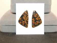 Flower Obsidian Cabochons 25x15.5mm Set of 2 with 4.5mm dome (11690)