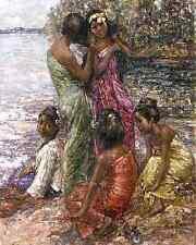 Burmese Girls by E Hornel 8x10 Print Myanmar Asian Friends Beach Water 0147