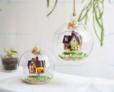Miniature Wooden Dollhouse DIY 3D Flying Cabin Destiny Kit LED Light Glass Ball